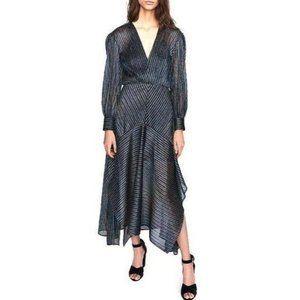 MAJE Holographic V neck Midi Dress NWT